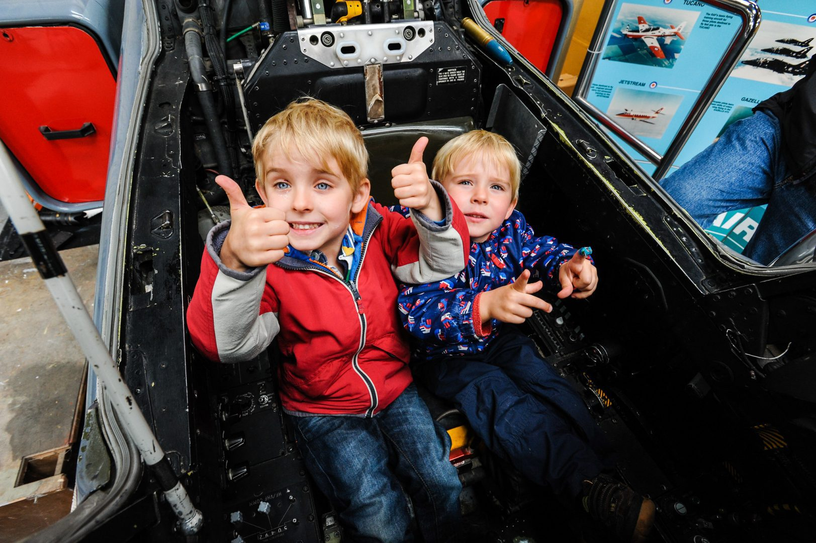 Two children at Newark Air Museum