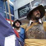 Two Civil War soldiers outside the National Civil War Centre