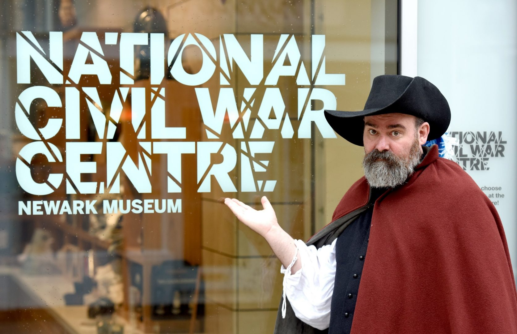 Actor welcoming visitors to the National Civil War Centre