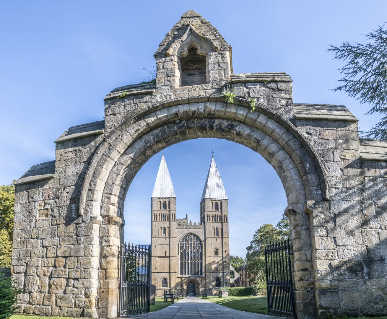 Southwell Minster through the gate entrance