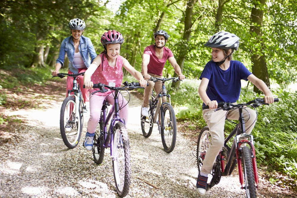 Family of four on a bike ride in the forest