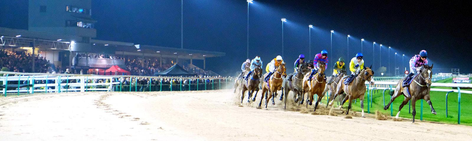 Horse racing under the floodlights