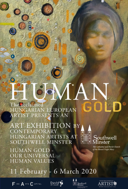 Human Gold event poster with a painted image