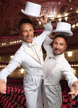 Ian Waite and Vincent Simone in white suits