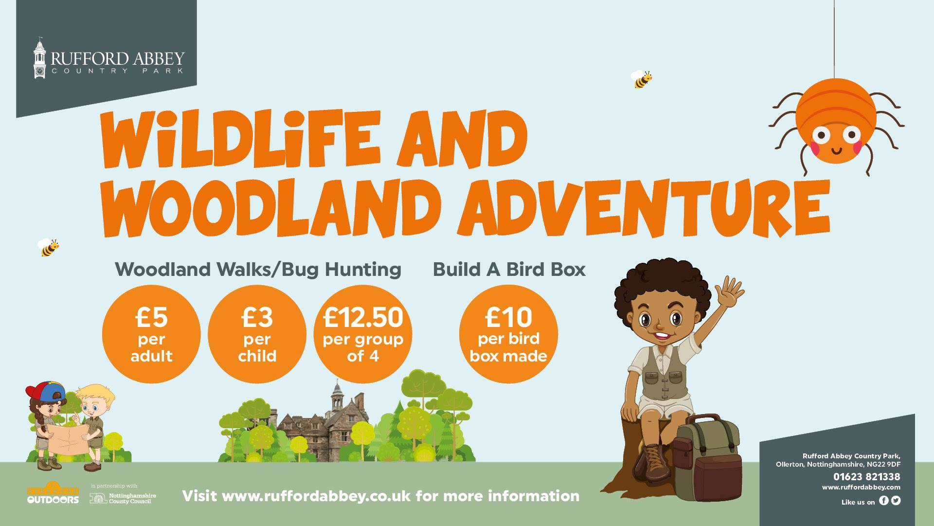 Wildlife and Woodland Adventure event poster at Rufford Abbey