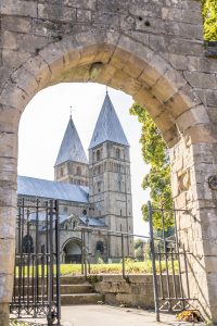 Southwell Minster through the gated entrance