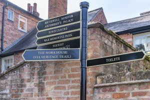 Southwell tourism sign post - Visit Southwell