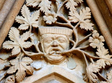 Green Man carving in the Chapter House at Southwell Minster