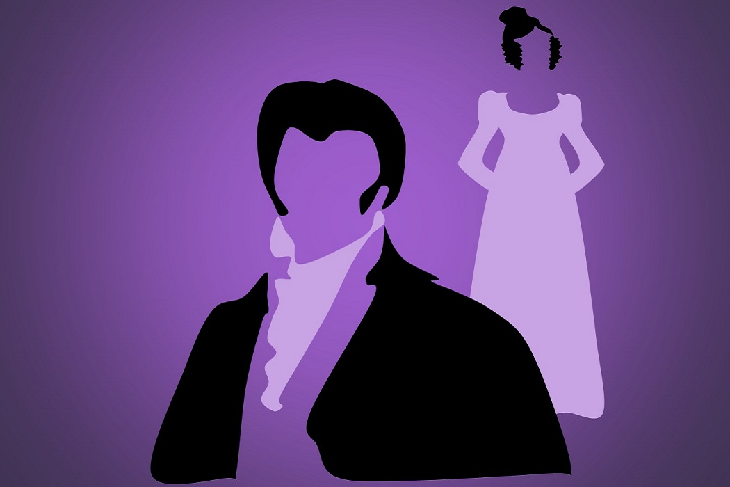 This promo image for Pride and Prejudice shows minimalist illustrations of Elizabeth and Mr Darcy
