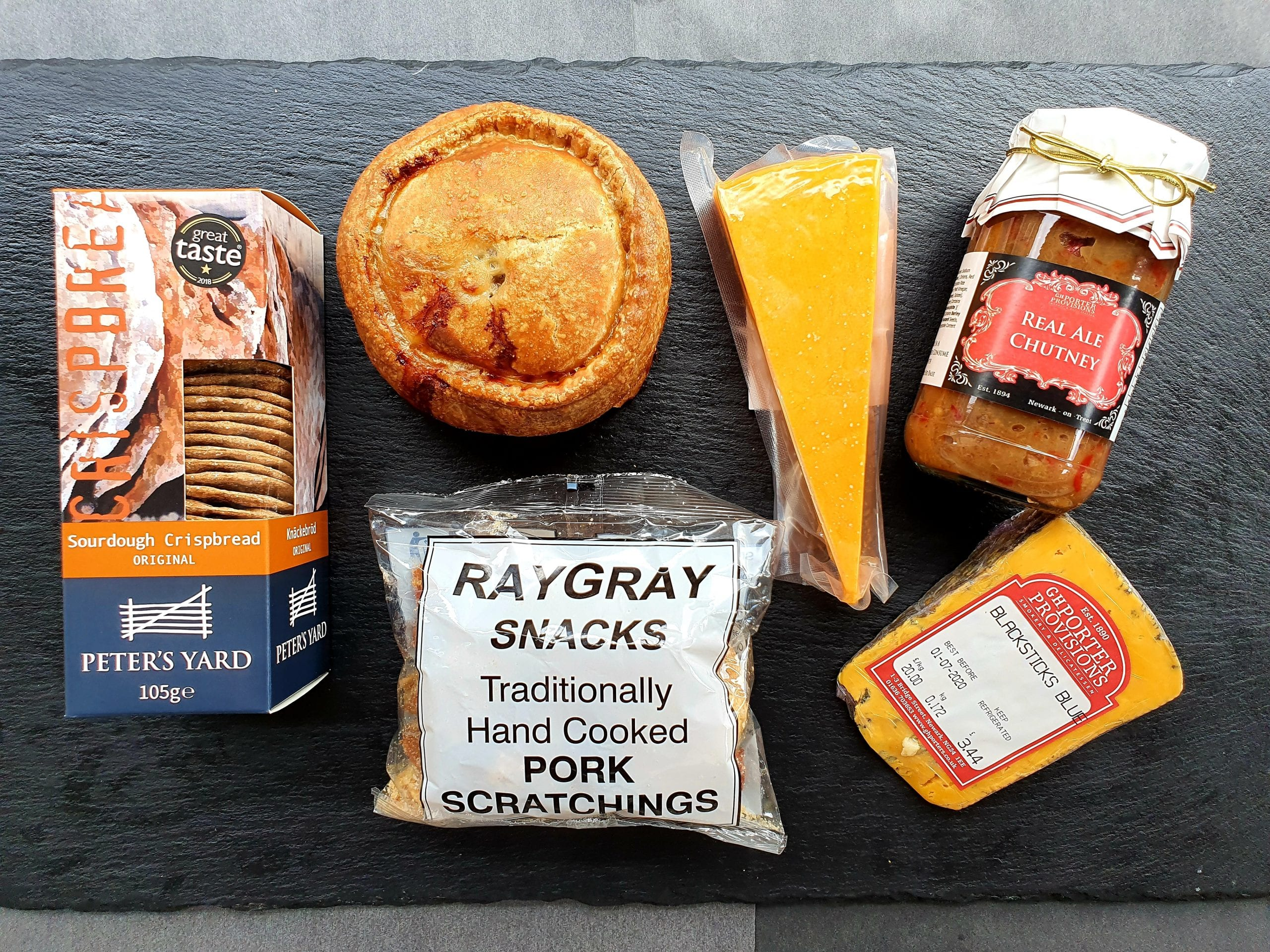 Ploughman, hamper, cheese, pork pie, pork, scratchings
