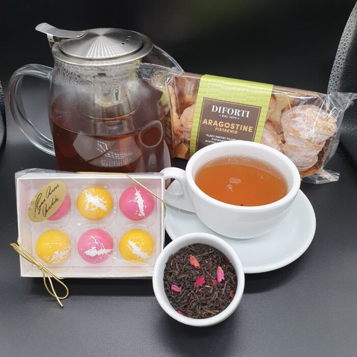 China Rose tea, Italian pastries & Ryan Owens Chocolate.